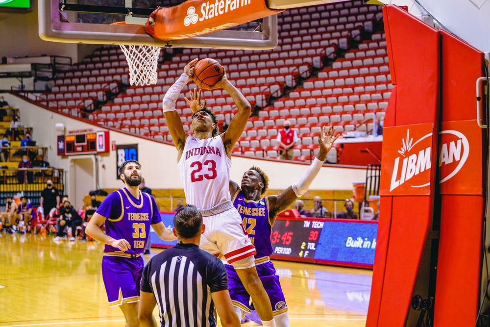 <p>Sophomore forward Trayce Jackson-Davis drives to the basket through the Tennessee Tech defense on Nov. 25 at Simon Skjodt Assembly Hall. Jackson-Davis scored 26 points in the IU victory.</p>