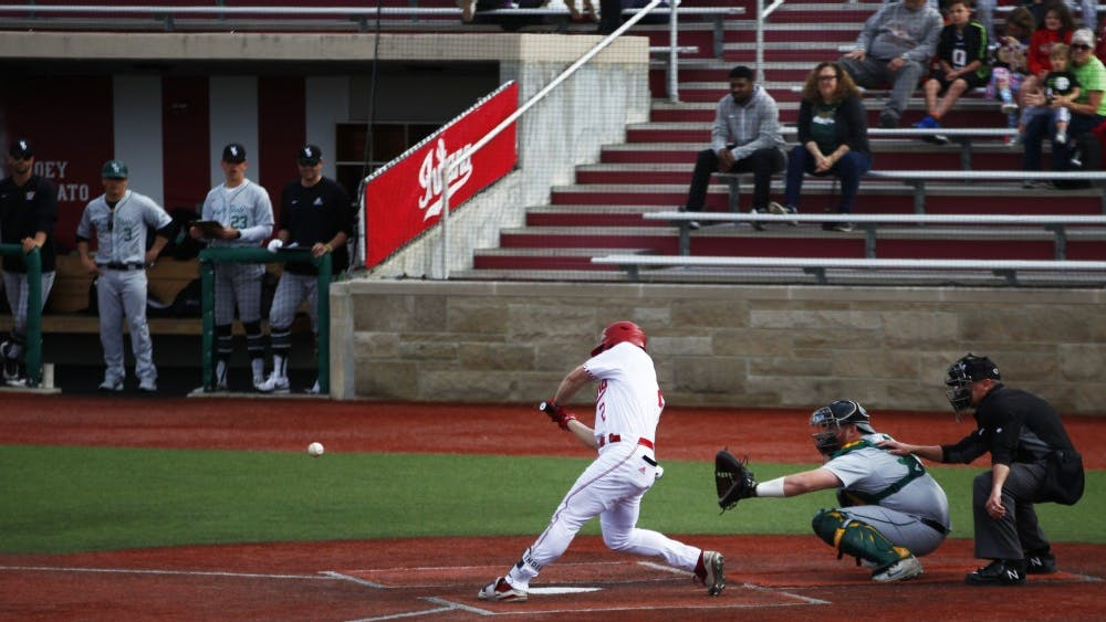 Sophomore Cole Barr hits a home run April 3 at Bart Kaufman Field. Barr scored one of IU's four runs of the game.