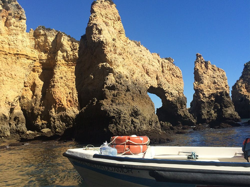 View from the grotto boat tour in Lagos, Portugal.