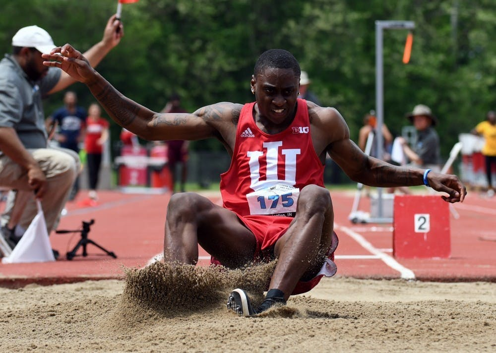 """<p>Then-junior, now-graduate student Treyton Harris competes in the long jump in 2018 during the Big Ten Outdoor Track and Field Championships. IU track and field will participate in the Vanderbilt Invitational Jan. 17-18.<a href=""""http://www.vucommodores.com/"""" target=""""_blank""""></a></p>"""