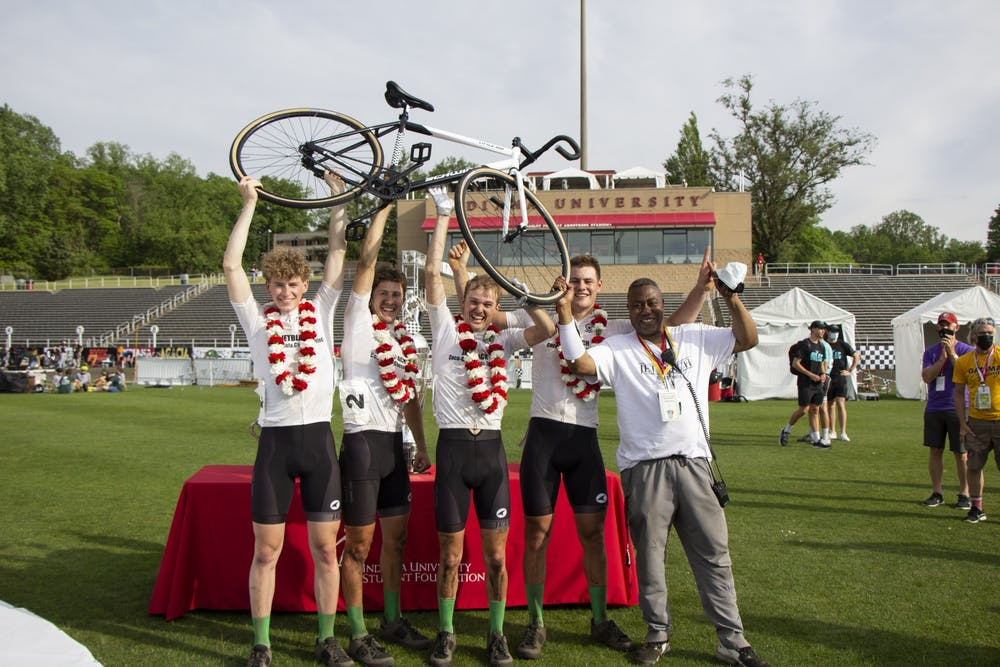 <p>The Jetblach team celebrates Wednesday at Bill Armstrong Stadium. Jetblach won the Men&#x27;s Little 500 race.</p>