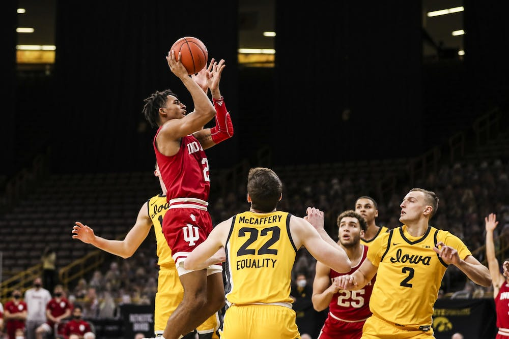 <p>Sophomore guard Armaan Franklin makes a jump shot Jan. 21 at Carver-Hawkeye Arena in Iowa City, Iowa. Franklin scored 11 points against Iowa. </p>