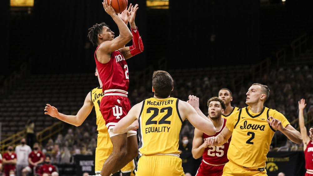 Sophomore guard Armaan Franklin makes a jump shot Jan. 21 at Carver-Hawkeye Arena in Iowa City, Iowa. Franklin scored 11 points against Iowa.