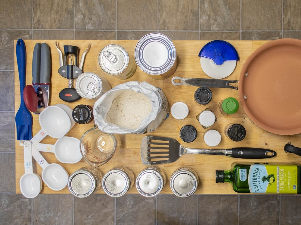Kitchen supplies are arranged on a kitchen island in an off-campus house in Bloomington. Cooking can be a fun way to spend time with friends and roommates.