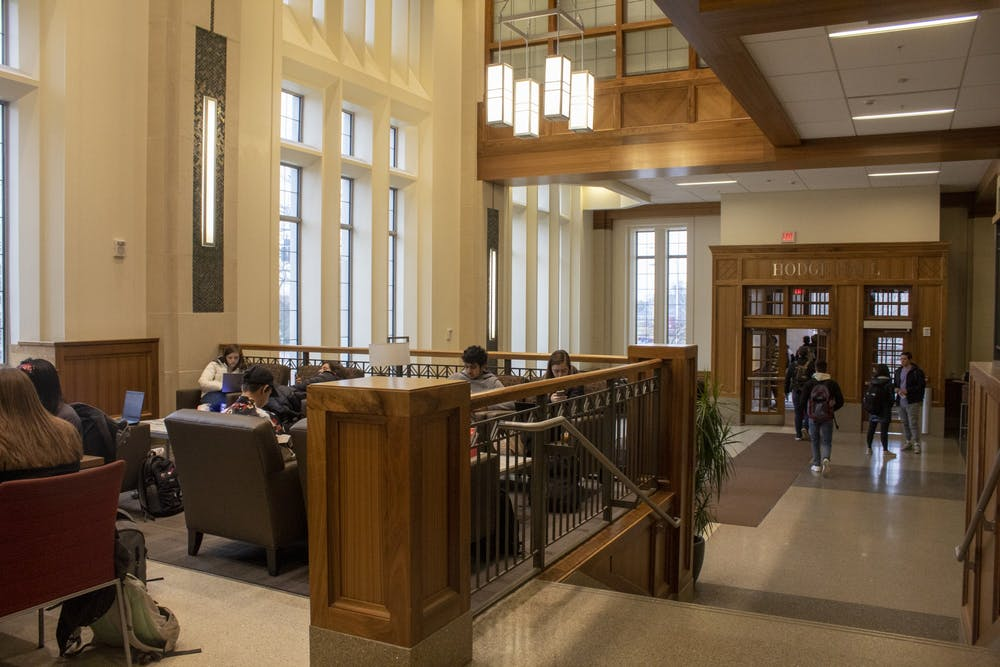 <p>Students study and walk to class Jan. 29, 2020, in Hodge Hall. Kelley School of Business MBA alumni Derica Rice and Robin Nelson-Rice donated $1 million  to a consortium program for graduate students last week. </p>