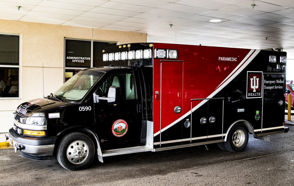 <p>An ambulance sits in a parking garage March 12 at IU Health Bloomington Hospital. Animal response kits will be put into IU Health ambulances to treat animals requiring dire medical attention.</p>