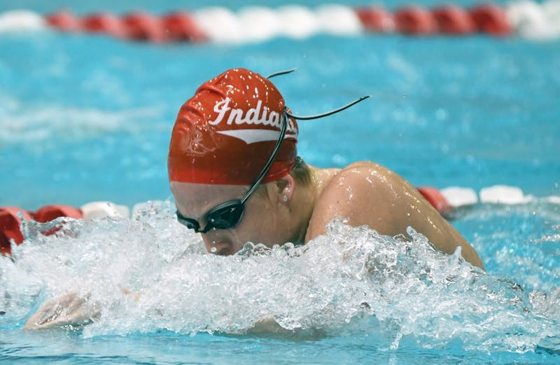 Then-sophomore, now junior, Hope Hayward swims in the 200-meter breaststroke. Hayward and the Hoosiers open their season on Wednesday.