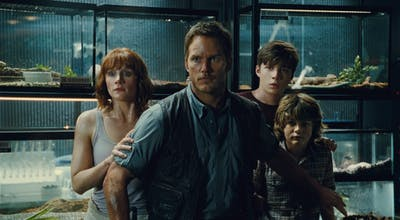"Chris Pratt in a scene from ""Jurassic World."" (Image courtesy Universal Pictures)"