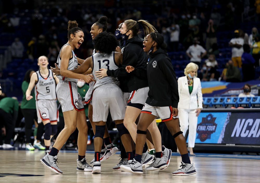 <p>The University of Connecticut women&#x27;s basketball team celebrates  Monday after beating Baylor in San Antonio, Texas. The Huskies will advance to the Final Four and face the University of Arizona on Friday.  </p>