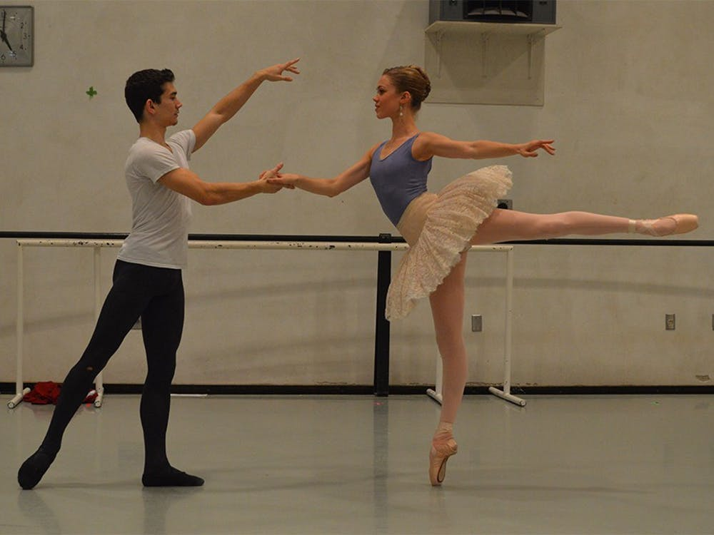 """Cara Hansvick and her partner, Andrew Copeland, rehearse for IU Opera & Ballet Theater's """"The Nutcracker"""" ballet. The opening performance of """"The Nutcracker"""" will be at 7:30 p.m. Dec. 3 in the Musical Arts Center."""