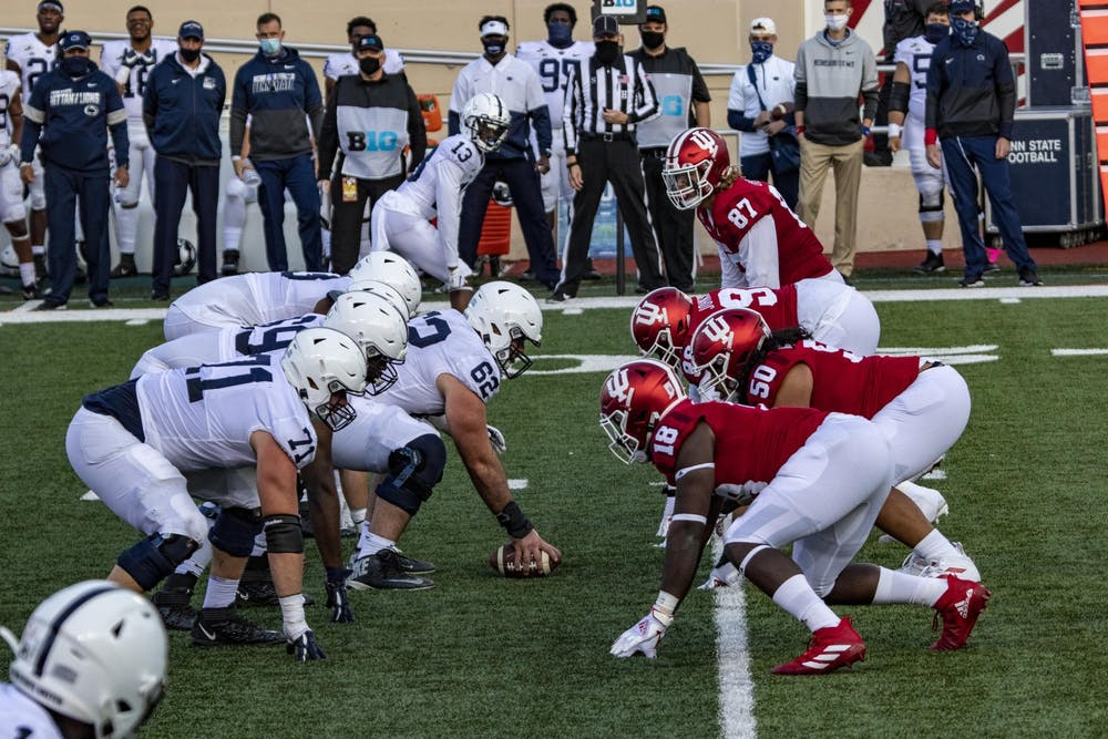 <p>Indiana football&#x27;s defensive linemen prepares for Penn State's offense to start the play Oct. 24, 2020, in Memorial Stadium. Indiana will face Penn State on Oct. 2, 2021, in University Park, Pennsylvania. </p>