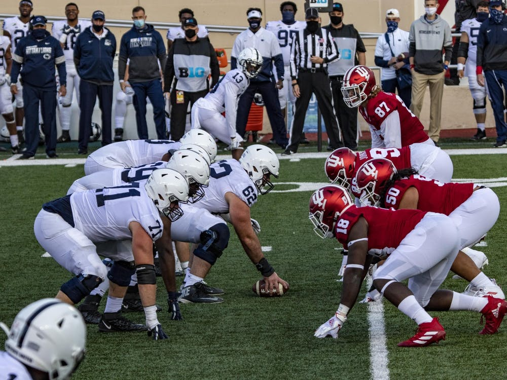 Indiana football's defensive linemen prepares for Penn State's offense to start the play Oct. 24, 2020, in Memorial Stadium. Indiana will face Penn State on Oct. 2, 2021, in University Park, Pennsylvania.