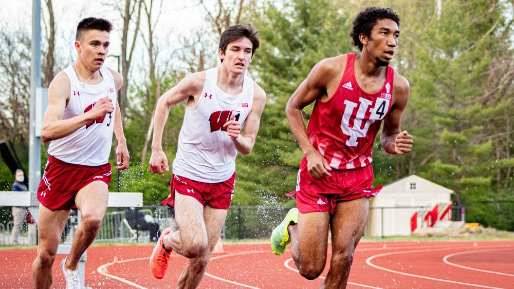 Sophomore distance-runner Keelan Grant runs the 3000 meters steeplechase April 16 in Bloomington. Some IU track and field athletes competed at the Husker Big Ten Invitational in Prairie View, Texas and others stayed in Bloomington for the Big Ten Indiana Invitational this weekend.