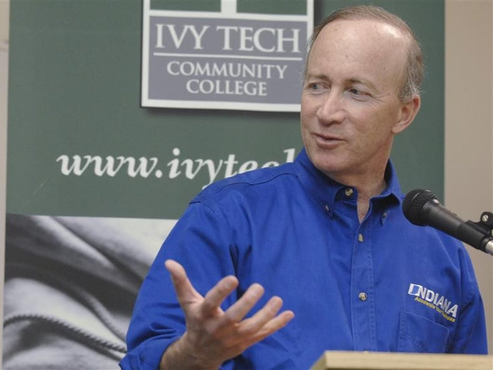 Indiana Gov. Mitch Daniels speaks during a news conference Thursday afternoon at the Elkhart campus of Ivy Tech. Daniels was in Elkhart to highlight new companies that have come to the county.
