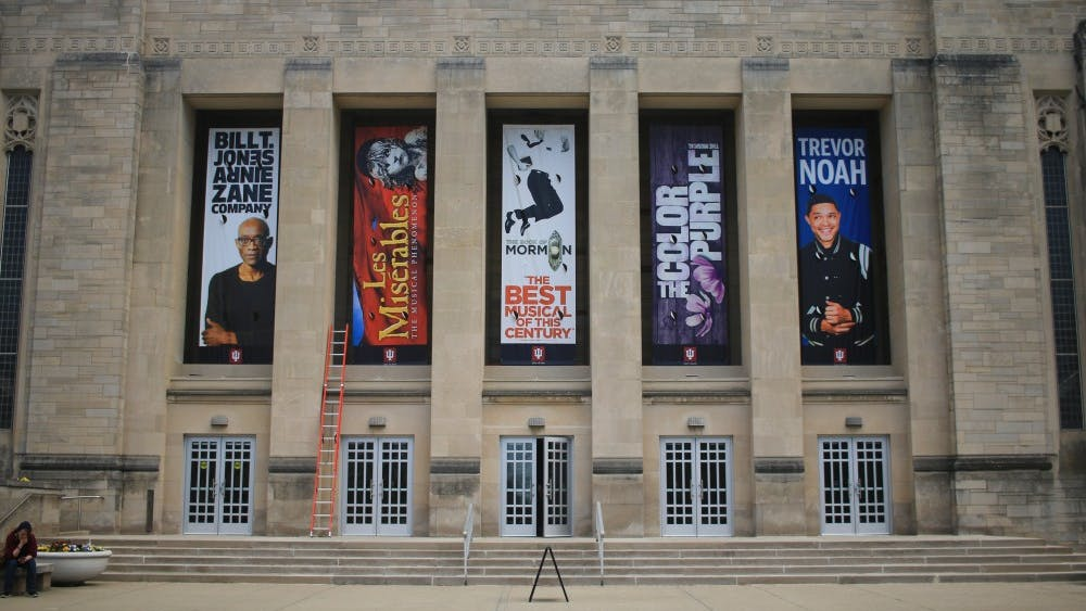 "Banners that advertise the upcoming season are displayed April 22 at the IU Auditorium. Shows for the upcoming fall semester include performances from comedian Trevor Noah, the award-winning musical ""The Book of Mormon"" and  ""STOMP."""