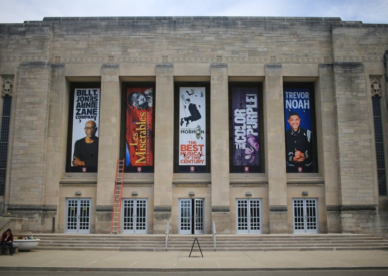 """Banners that advertise the upcoming season are displayed April 22 at the IU Auditorium. Shows for the upcoming fall semester include performances from comedian Trevor Noah, the award-winning musical """"The Book of Mormon"""" and  """"STOMP."""""""