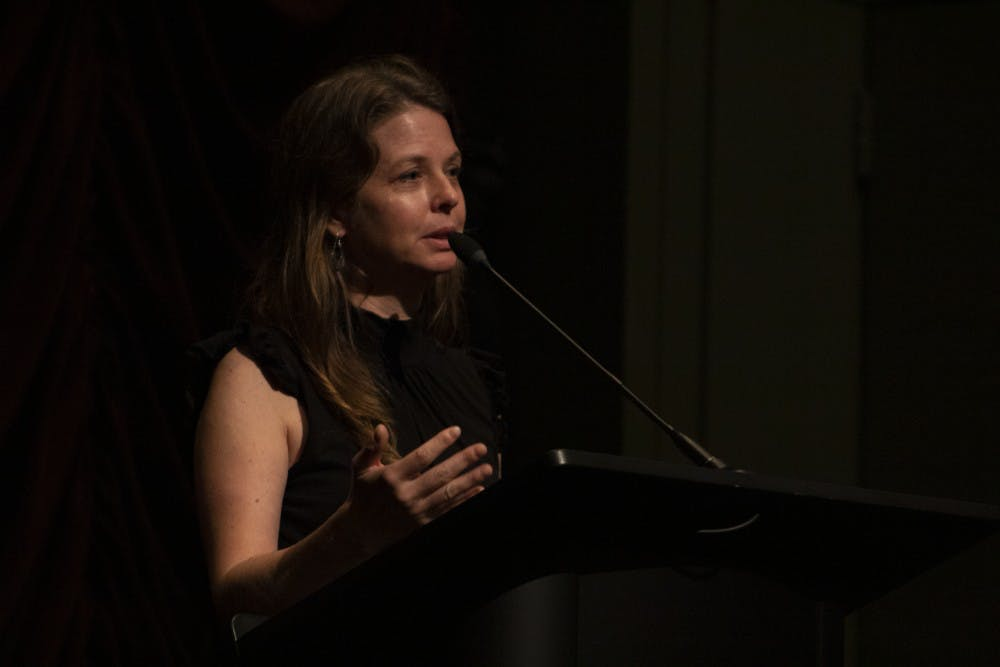 <p>Almudena Carracedo discusses her film, &quot;The Silence of Others,&quot; on Oct. 10 at IU Cinema. &quot;The Silence of Others&quot; depicts Gen. Francisco Franco's 40-year dictatorship in Spain and how people are trying to bring justice to the horrors people had to endure at that time. </p>