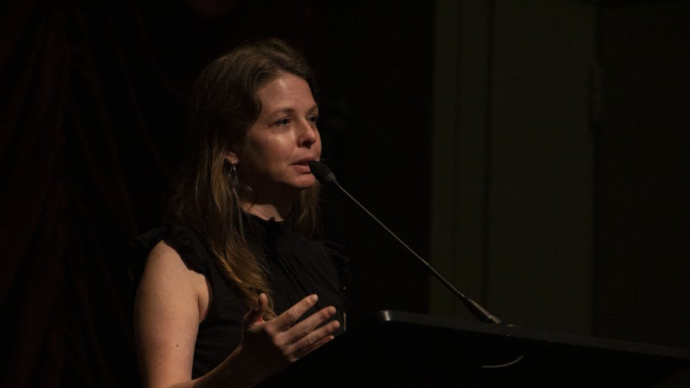 """Almudena Carracedo discusses her film, """"The Silence of Others,"""" on Oct. 10 at IU Cinema. """"The Silence of Others"""" depicts Gen. Francisco Franco's 40-year dictatorship in Spain and how people are trying to bring justice to the horrors people had to endure at that time."""