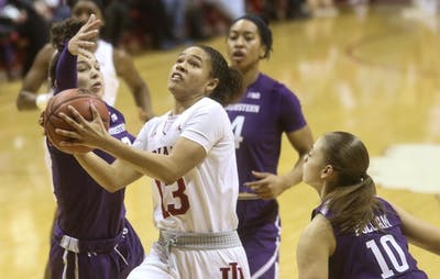Sophomore guard Jaelynn Penn attempts a layup in the second half of the women's basketball game between IU and Northwestern on Jan 16. The Hoosiers lost, 75-69.