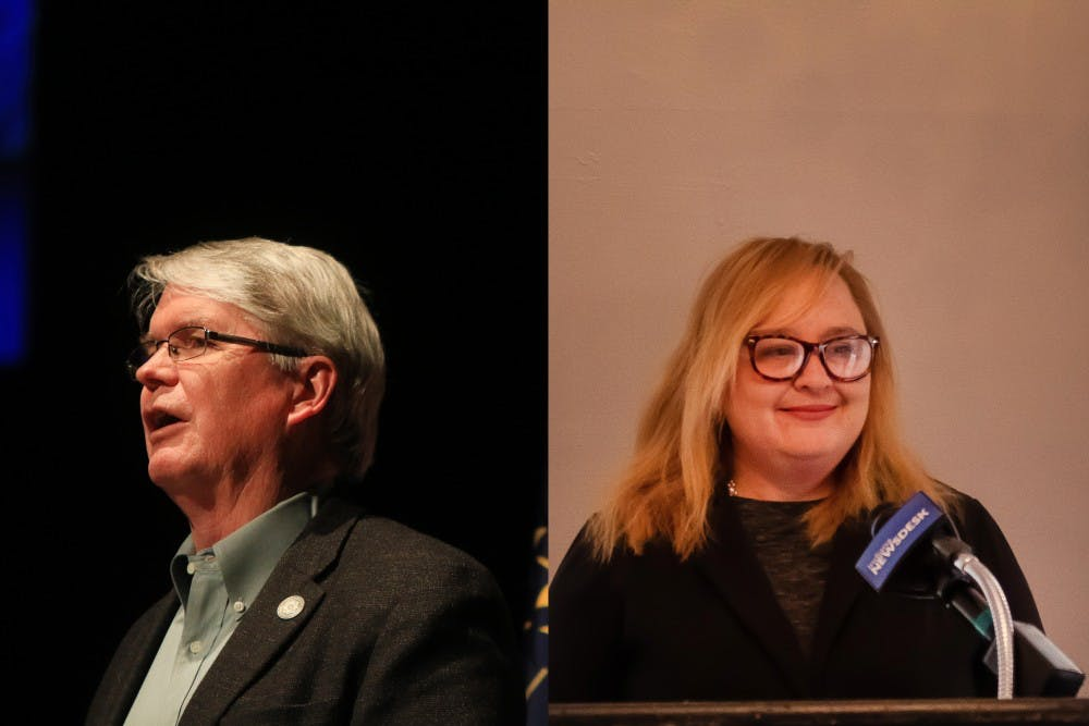 <p>Democratic mayoral candidates Amanda Barge and John Hamilton joined Bloomington residents Monday night at the Monroe County Public Library for a candidate forum. The event revealed differences in the candidates' views on progressivism. </p>