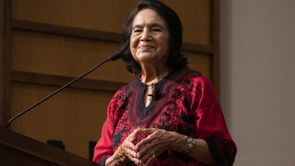 Civil rights activist Dolores Huerta smiles as the audience applauds during her address Sept. 19, 2019, at Franklin Hall. Huerta is an active American labor leader known for her work with civil rights activist Cesar Chavez.