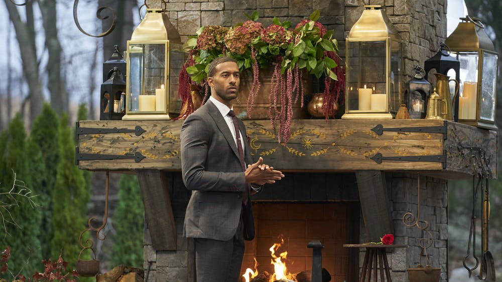 "Former bachelor Matt James is pictured during ""The Bachelor"" finale. James is the first Black lead of ""The Bachelor."""