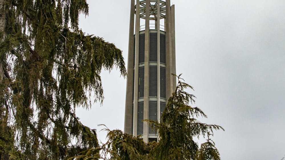 IU's Metz Carillon Bell Tower stands Jan. 14 near 10th Street. The bell tower will ring for the first time at 11:45 a.m. Jan. 20 in the IU Arboretum.
