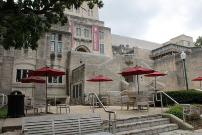 Tables and chairs sit Aug. 22 on the patio outside of the Indiana Memorial Union. Elections for the eight directors of the Indiana Memorial Union Board opened 4 p.m. Thursday and will close 4 p.m. Friday.
