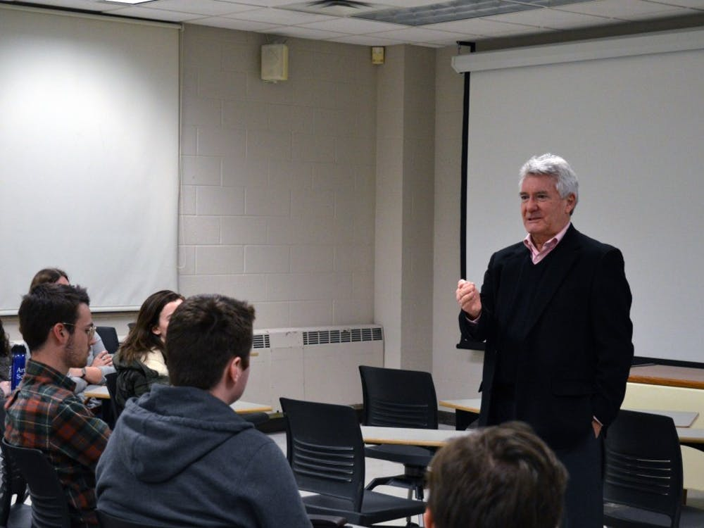IU professor Paul Helmke speaks about gun control in the wake of the Marjory Stoneman Douglas High School shooting in Parkland, Florida. Students for Common Sense Gun Policies at IU organized a roundtable discussion on gun control once they saw Parkland students speak out.