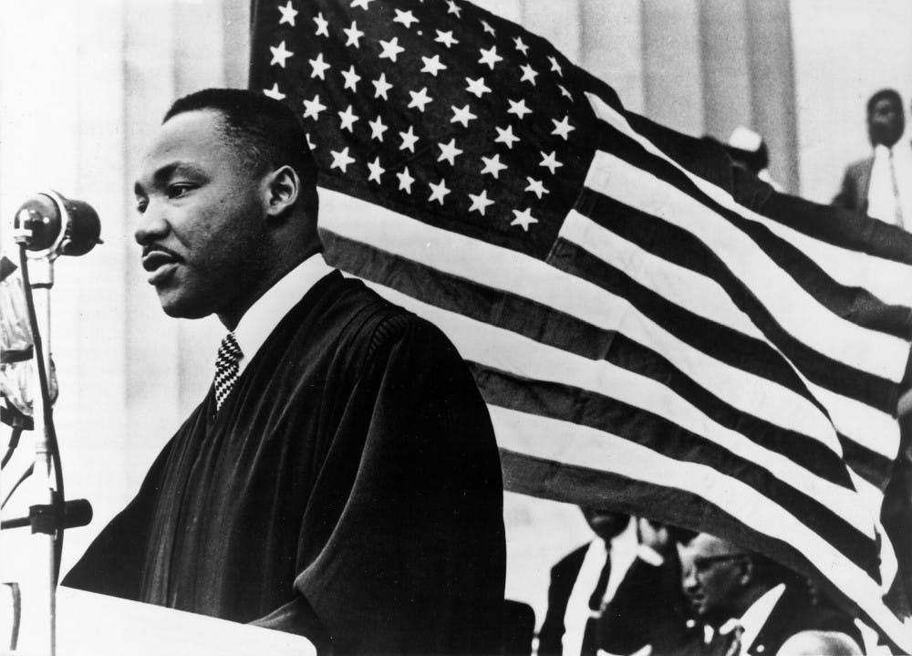 <p>Martin Luther King Jr. speaks Jan. 1, 1960, in Washington, D.C. This year's keynote speaker for IUnity Summit is Tamika Catchings, a former WNBA player.&nbsp;</p>