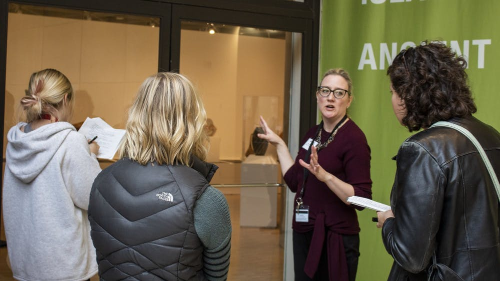 Director of Creative Services Mariah Keller leads a tour Nov. 4 during a press event at the Eskenazi Museum of Art. The museum will be reopen Nov. 7.