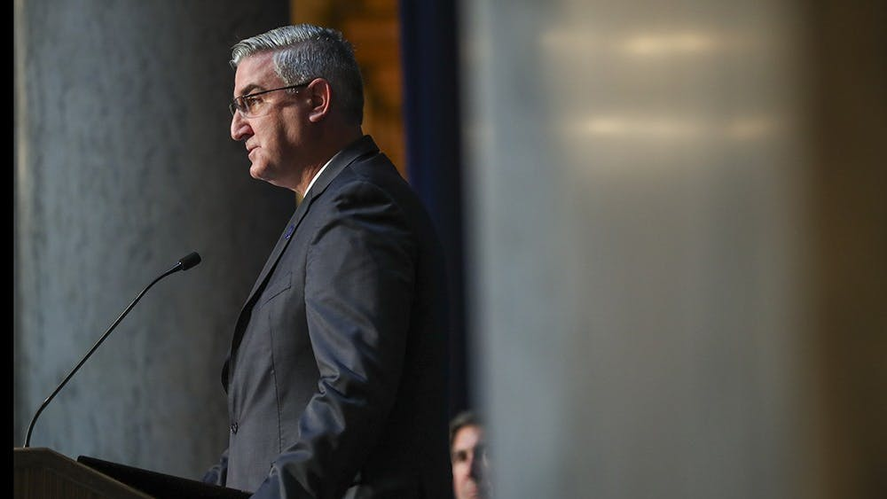 Gov. Eric Holcomb speaks at a press conference at the Indiana State House in Indianapolis on Oct. 10, 2017. Holcomb delivered his 2021 State of the State address Tuesday.