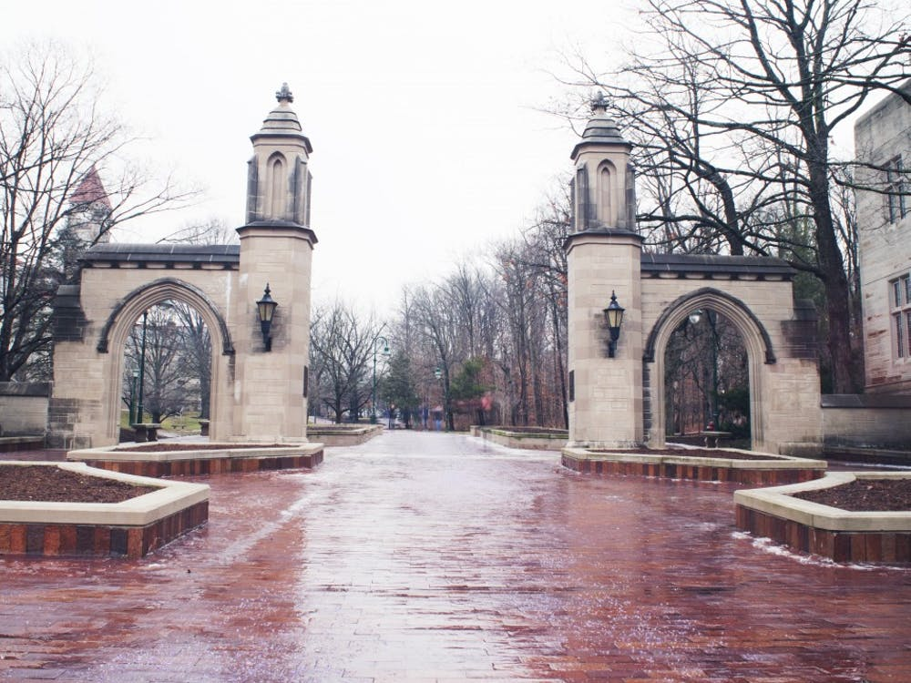 The Sample Gates area on campus sits quiet in between classes. Students weighed in on their first day of classes of spring semester in interviews on Indiana Ave.