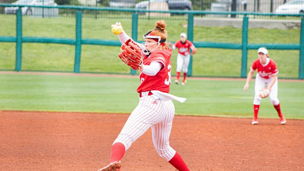 Senior pitcher Emily Goodin pitches in the first game of an April 17 doubleheader against Ohio State. The Hoosiers won 8-0 in the first game Saturday and lost 9-10 in the second game.