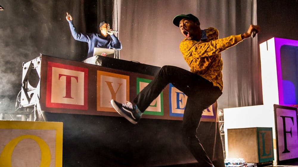 Tyler, The Creator performs on ASAP ROCKY's Tour at DTE Energy Music Theatre in Clarkston, Mich. on Sept. 26, 2015.