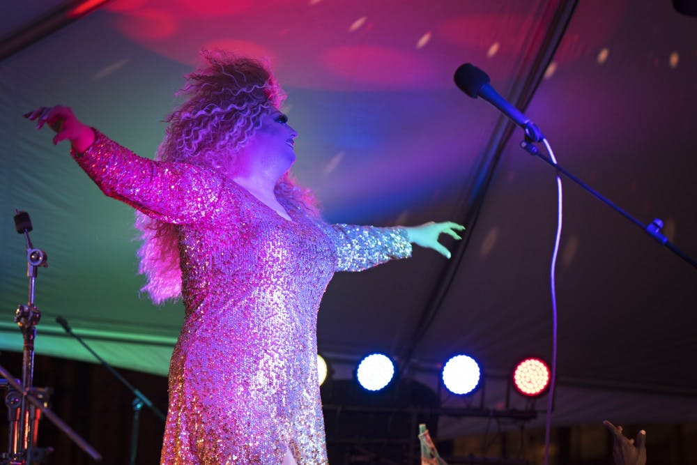 "<p>Argenta Peron sings ""Somewhere Over the Rainbow"" at the drag show on Kirkwood Avenue in 2017. Peron also hosted the show, marking the end of the Bloomington Pridefest for the night.&nbsp;</p>"