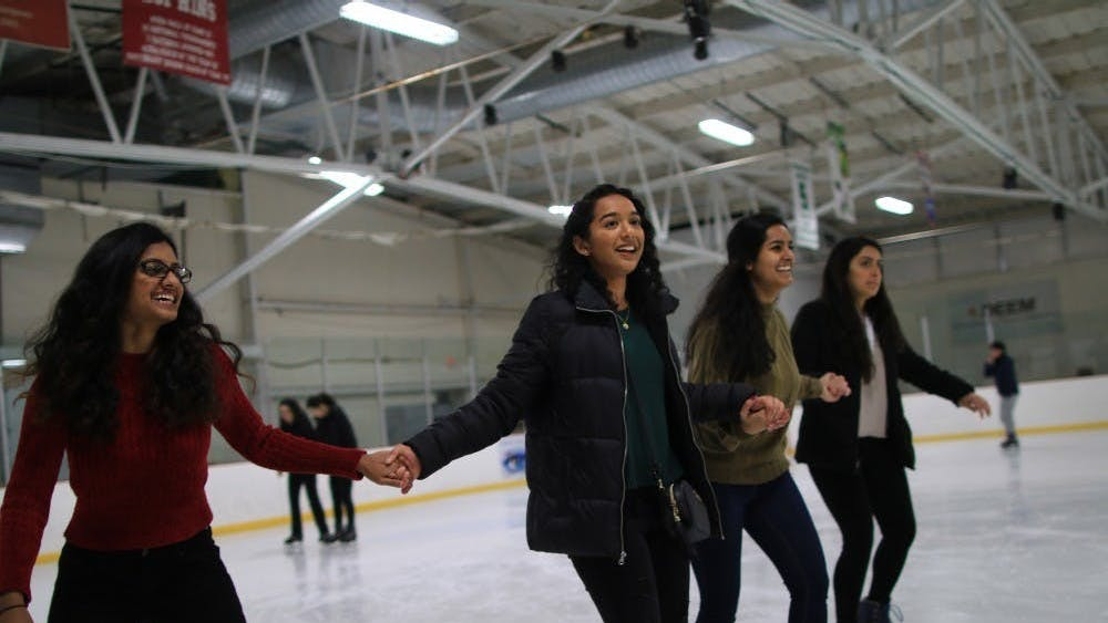 Students ice skate Feb. 23, 2019, in Frank Southern Ice Arena. It was announced Feb. 1 that the arena won't open for the 2021 winter season.