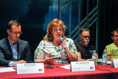 Sue Sgambelluri, candidate for Bloomington City Council District Two, talks with community members Sept. 17 at the Ivy Tech John Waldron Arts Center. The arts forum was put on by Arts Forward Bloomington, and focused on community concerns about keeping art alive and supported in Bloomington.
