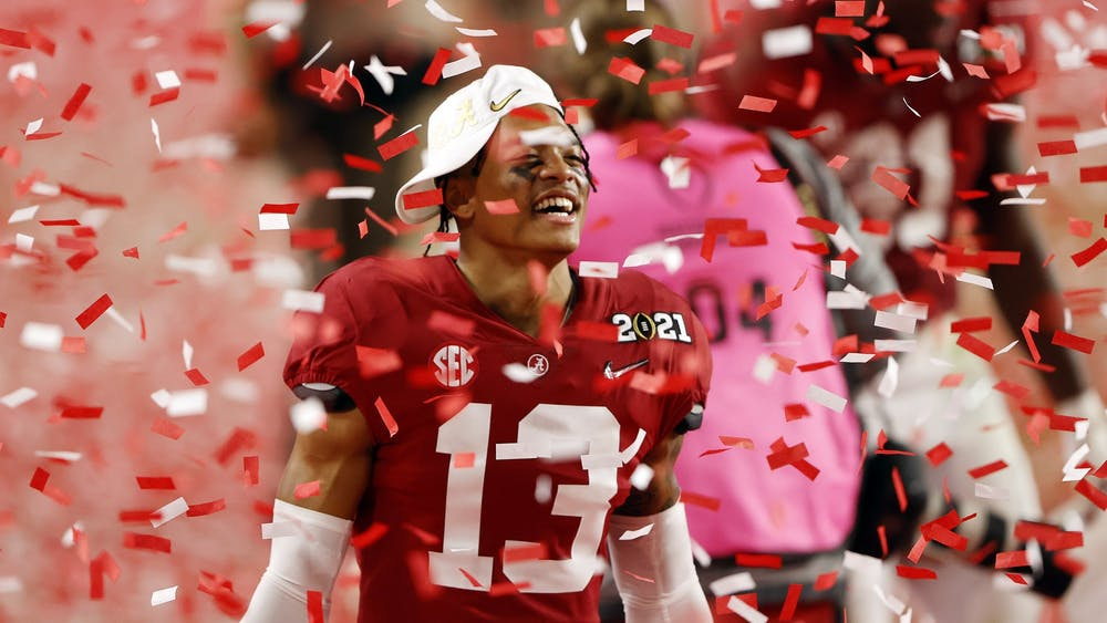 University of Alabama then-freshman defensive back Malachi Moore celebrates following the College Football Playoff National Championship game win over the Ohio State on Jan. 11, 2021, at Hard Rock Stadium in Miami Gardens, Florida.