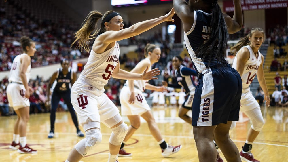 Senior Brenna Wise defends against Jackson State University on Nov. 17 at Simon Skjodt Assembly Hall. Despite being ranked No. 17, IU women's basketball knocked off No. 5 University of South Carolina on Nov. 28 in St. Thomas, U.S. Virgin Islands, with a score of 71-57.
