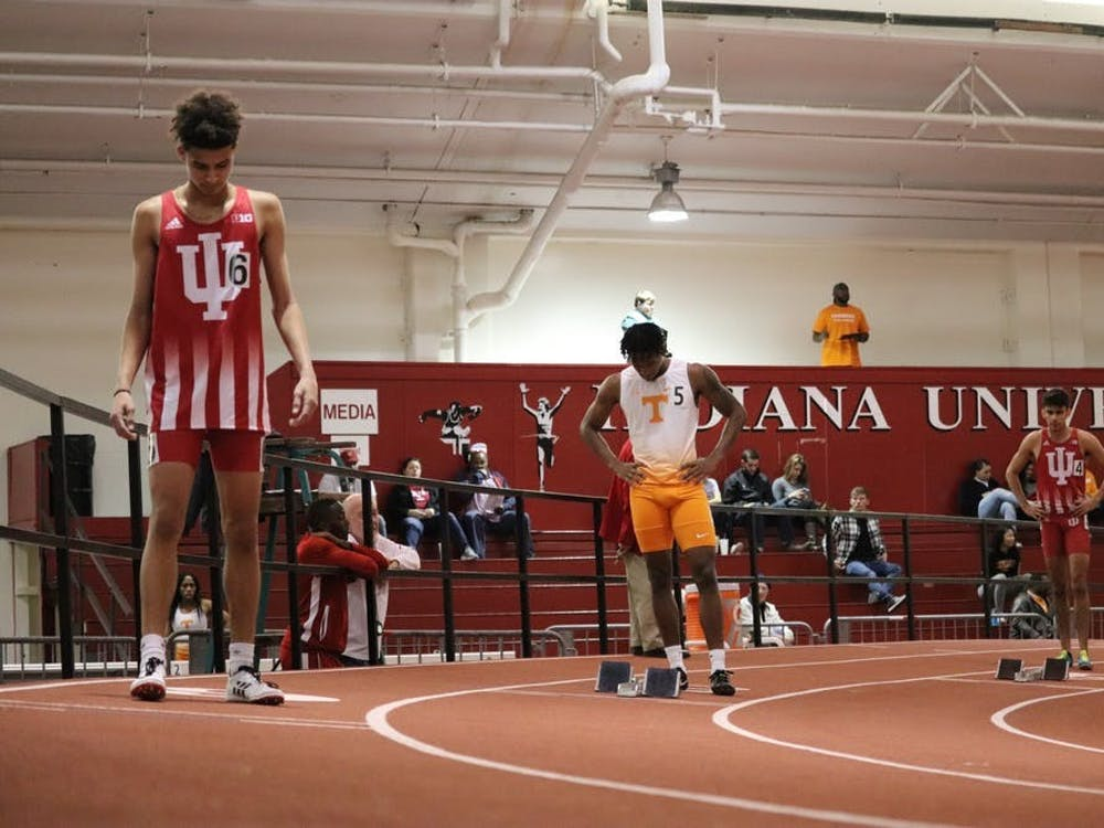 Jalen Royal and his teammates prepare to compete in the 400-meter run on Jan. 5, 2019, in Gladstein Fieldhouse. The Hoosiers will compete in the first outdoor meet of the season on March 26 and 27 at the Robert C. Haugh Complex in Bloomington.