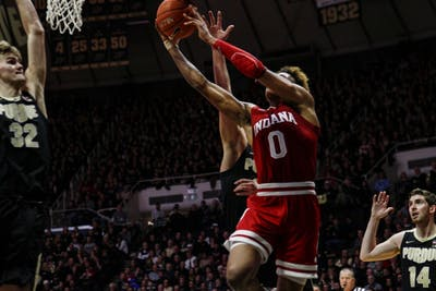 Freshman guard Romeo Langford scores a basket against Purdue on Jan. 19 at Mackey Arena in West Lafayette, Indiana. IU lost to Purdue 70-55.