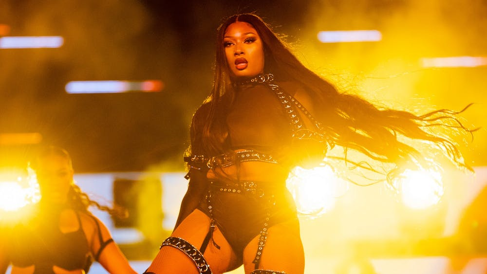 "Megan Thee Stallion performs onstage during day two of ""Red Rocks Unpaused"" 3-Day Music Festival presented by Visible at Red Rocks Amphitheatre on Sept. 2 in Morrison, Colorado."