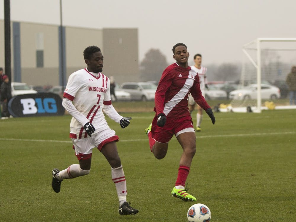 Freshman forward Mason Toye chases after a loose ball during the second half of the Big Ten Championship match on Nov. 12 at Grand Park in Westfield, Indiana.IU opens NCAA Tournament play this Sunday at home.