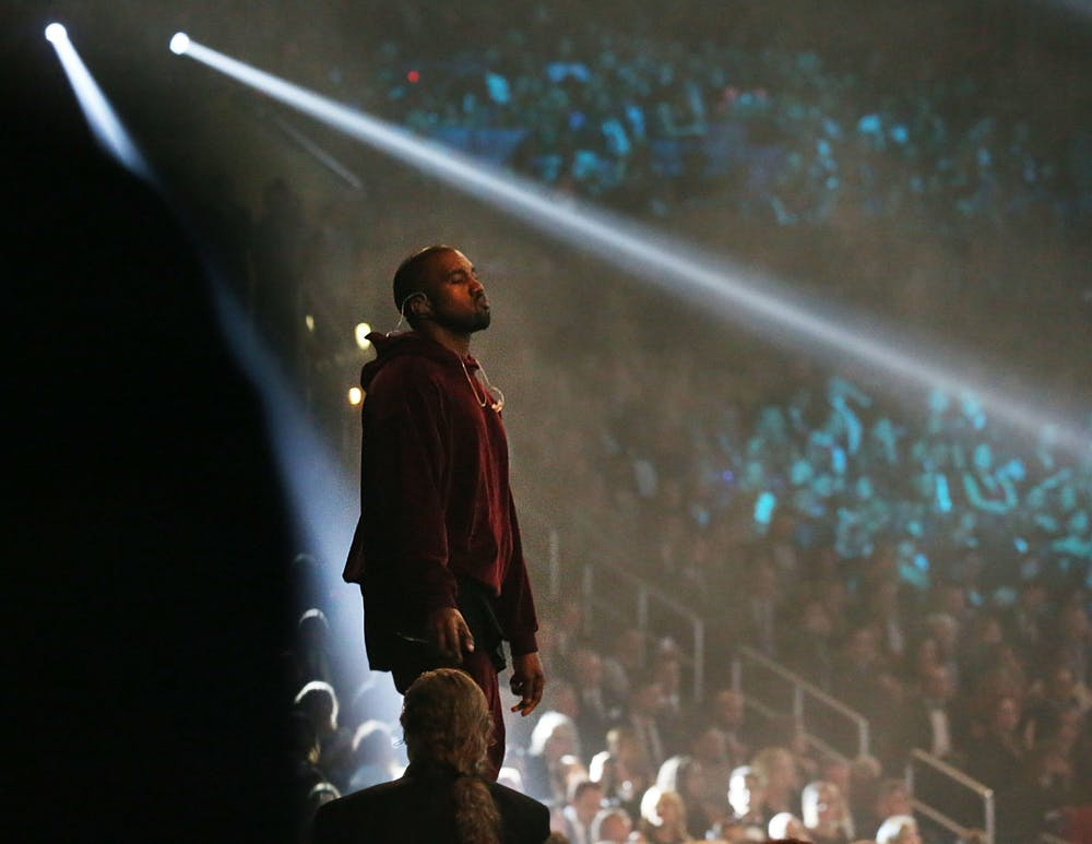 <p>Kanye West performs at the 57th Annual Grammy Awards Feb. 8, 2015 at the Staples Center in Los Angeles.</p>