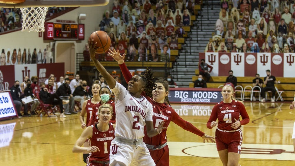 Senior guard Keyanna Warthen attempts a layup Jan. 10 in Simon Skjodt Assembly Hall. IU defeated Wisconsin 77-49 Wednesday.