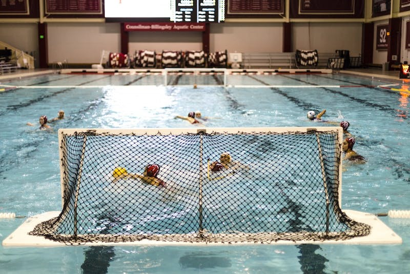 Senior Jessica Gaudreault swims out for a save for the IU water polo team. The Hoosiers joined the Mountain Pacific Sports Federation on Friday.
