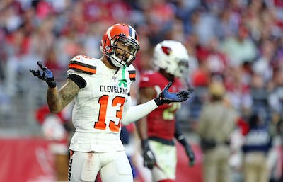 Cleveland Browns wide receiver Odell Beckham Jr. gestures Dec. 15 after a play against the Arizona Cardinals. A warrant issued for Beckham Jr.'s arrest for a misdemeanor simple battery was recalled Jan. 18.
