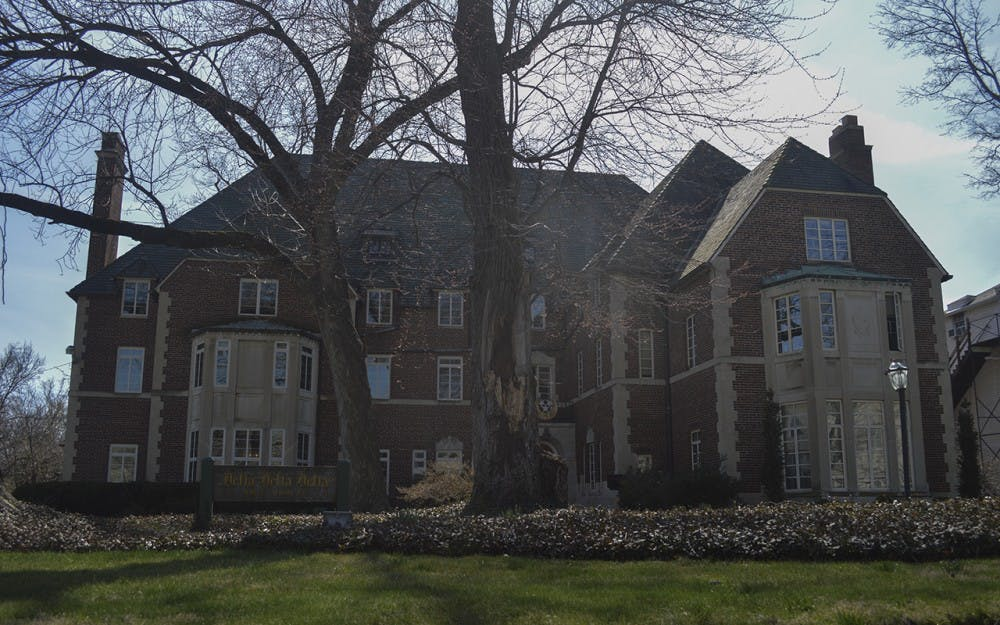 <p>The Delta Delta Delta house sits on Third Street. The&nbsp;IU Delta Omicron chapter of Delta Delta Delta was revoked Saturday after the groups's national organization said the IU members' activities clashed with Tri Delt's high standards and purpose.</p>