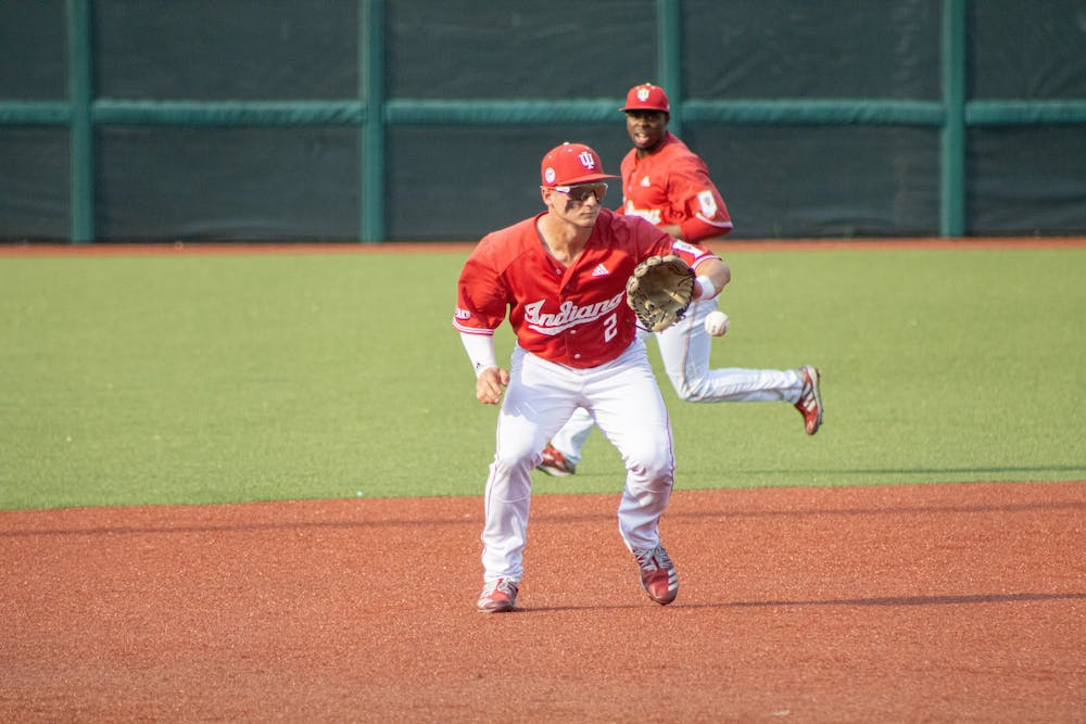<p>Junior Infielder Cole Barr makes the catch against Ohio State on May 24. The Hoosiers ended their losing streak Monday, defeating Ohio State 2-0 at Bart Kaufman Field.<br/><br/></p>